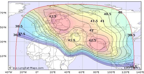 Карта покрытия спутника yamal 202 49 e c band